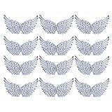 NUOBESTY 12 piezas de alas de ángel alas de tela parches para manualidades diy accesorios para el cabello (plateado)