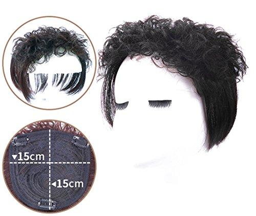12 cm bouclés Cheveux humains Top Couronne Clip Postiche en décoration pour postiches Wiglet pour Thinng et cheveux blancs