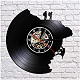 xiaoxong658 Reloj De Pared con Registro De Vinilo De Escalada, Reloj Retro De Escalada Art Deco De Pared Negra De Escalada, Disco De Vinilo Cortado con Láser No 30 × 30 Cm