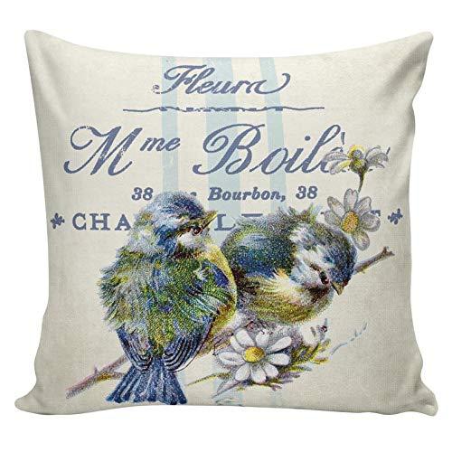 Yor242len Almohadas de primavera, almohadas botánicas, pájaros, florales, decoración de primavera, fundas de cojín, cojines, algodón, arpillera,