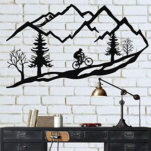 Metal Wall Art Mountain Bike Trees, Mountain Bike Metal Wall Decor (60 x 31 cm)