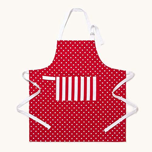 Homescapes – Pur Coton – Tablier avec Poche – Unisexe - À Pois – Rouge Blanc – 80 x 85 cm - Linge de Cuisine Entièrement Coordonné et Lavable