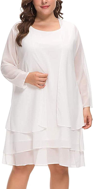 MISSJOY Plus Size Women's Chiffon Dress Mother of The Bride Dresses with Jacket Long Sleeve 2pcs Set Knee Length