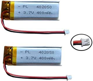 AOLIKES 3.7V Replacement LiPo Battery 400mAh - LP401750, 402050 with Jst Ph1.25-2Pin Connector Plug for Bluetooth Headset,MP3,Mp4 and More (2 Pack)