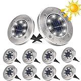 10 Stücke Solar Bodenleuchten Aussen, DUTISON Solarleuchten Garten mit 8 LEDs für Außen, 3000K Weiß IP65 Wasserdicht Led Solar Gartenleuchten, Solarlampen für Rasen Auffahrt Gehweg Patio Garden