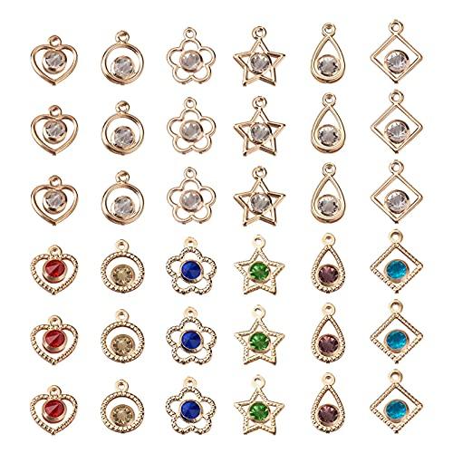PandaHall Diamantes de imitación de cristal de circonio cúbico cuelgan los encantos para hacer, Metal,