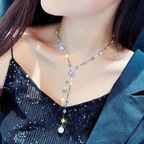 EMFGJ Gargantilla de cristal para mujer con diamantes de imitación, collar de moda, multicapa, collares largos, cadenas de joyería para mujeres y niñas