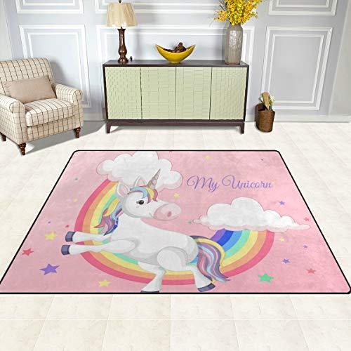 ISAOA - Alfombra infantil moderna y suave, diseño de unicornio con arco iris, para decoración de dormitorio, sala de estar, habitación de niños, etc. Antideslizante y lavable, 152 x 120 cm