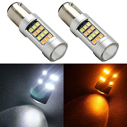 TABEN 1157 BAY15D P21/5W 7528 Switchback LED avec lentille de projecteur Blanc/Ambre Double Couleur 2835 42SMD Ampoules LED Clignotants Lampe de Frein Lumière de Jour Feux de Jour 12V (Pack de 4)