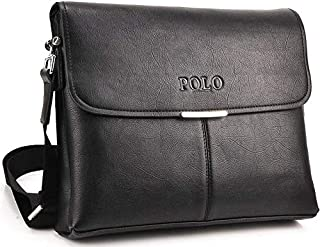 Videng Polo Messenger Bag for Men - Leather, Black