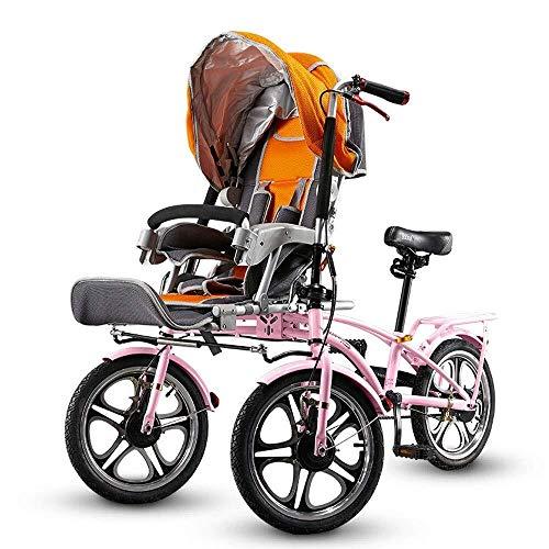 HZC Doppeltes dreirädriges Fahrrad, Kinderwagen-Buggy-Baby-Kinderwagen, faltbar mit fußschaltbarem Fahrrad, Kinderwagen-Reise for Neugeborene und Kleinkinder (Farbe : Pink)