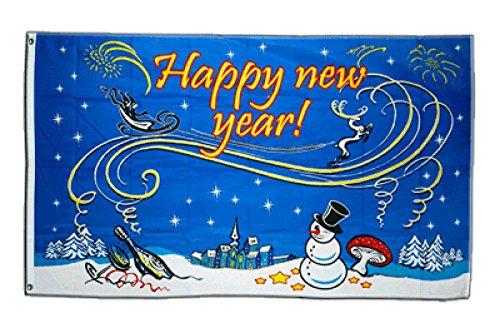 Flaggenfritze Fahne/Flagge Happy New Year mit Schneemann + gratis Sticker