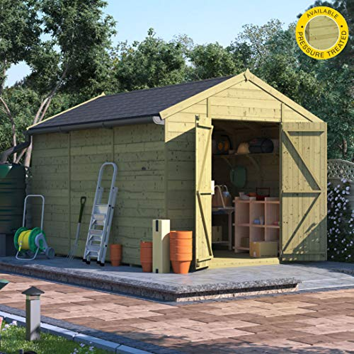 BillyOh Expert Tongue and Groove Apex Workshop Pressure Treated | Premium Garden Storage Shed | Includes Floor, Roof and Felt | Windowed and Windowless Options - Range of Sizes (Windowless, 12x8)