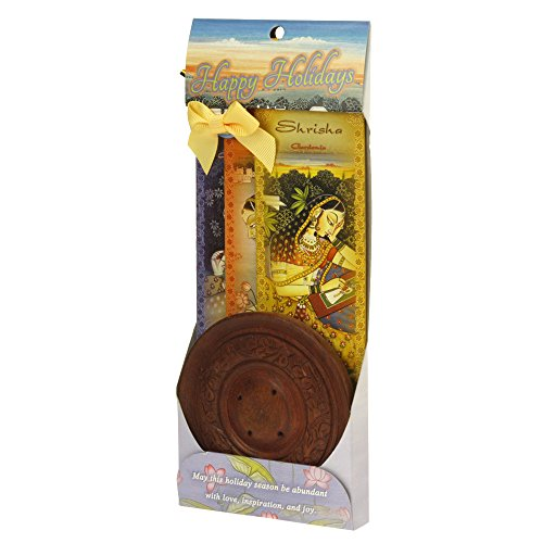 Presentes Prabhuji – Conjunto de incenso para presente – Queimador redondo de madeira + 3 pacotes de incenso de meditação (Gati, Shubha, Shrisha) – 30 palitos