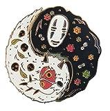 No Face Ghibli Spirited Away Ying Yang Enamel Pin Japanese Ghost Fashion Accessory for Lapels, Denim Jackets, Hats, Bags, Dress Shirts, Black, Gold
