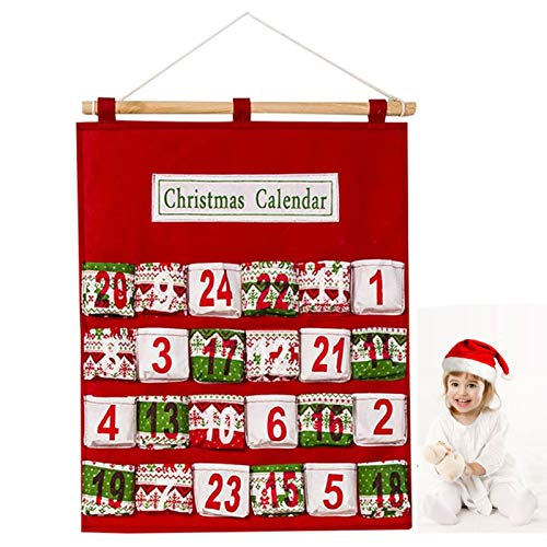 Greenke Christmas Decorations Countdown Calendar Wall Hanging Storage Bag, Advent Calendars Wall-Mounted Pouch Multi-Layer Printing Christmas Supplies, Hanging Pouch Candy Storage Bag Organizer
