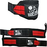 Nordic Lifting Wrist Wraps (1 Pair/2 Wraps) 14' for Weightlifting | Cross Training | Powerlifting - for Women & Men - Hand Strength & Support During Weight Lifting (Red) - 1 Year Warranty