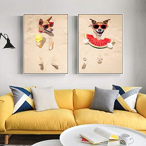 Wandkunst Leinwandmalerei Tierhund, der Wassermeloneneisbild für Wohnzimmerdekoration isst,Rahmenlose Malerei-60X90cmx2