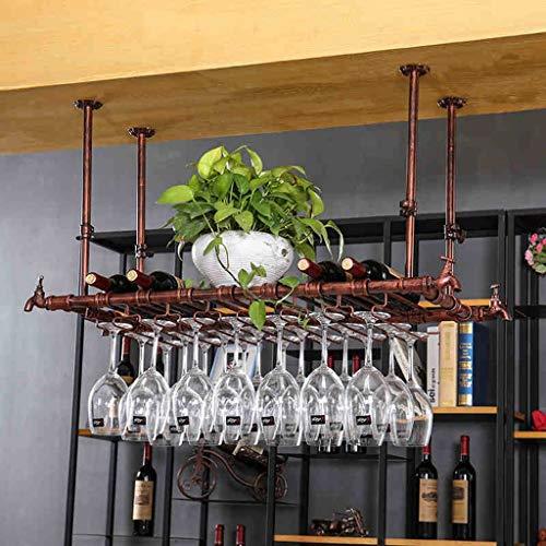Botelleros para Vino Estante para Vino Portavasos de Vino Barro casero de Hierro Forjado Rack de cáliz de Hotel Rojo Estante de Vino de Varios tamaños de Bronce (Tamaño : 120 * 30cm)