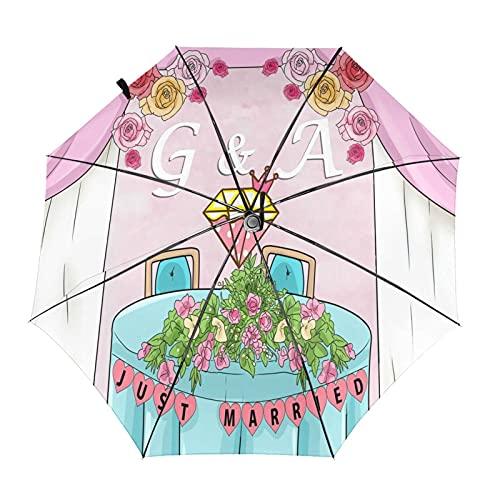 Decora la mesa de novio y la novia plegable paraguas portátil compacto diseño automático y alta resistencia al viento