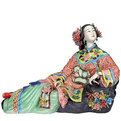 QMZZN Moderne Statue Dekoration Statuen Skulptur Gemalte Kunstfigur Statue Keramik Antik Chinesisches Porzellan Figur Home Decorations