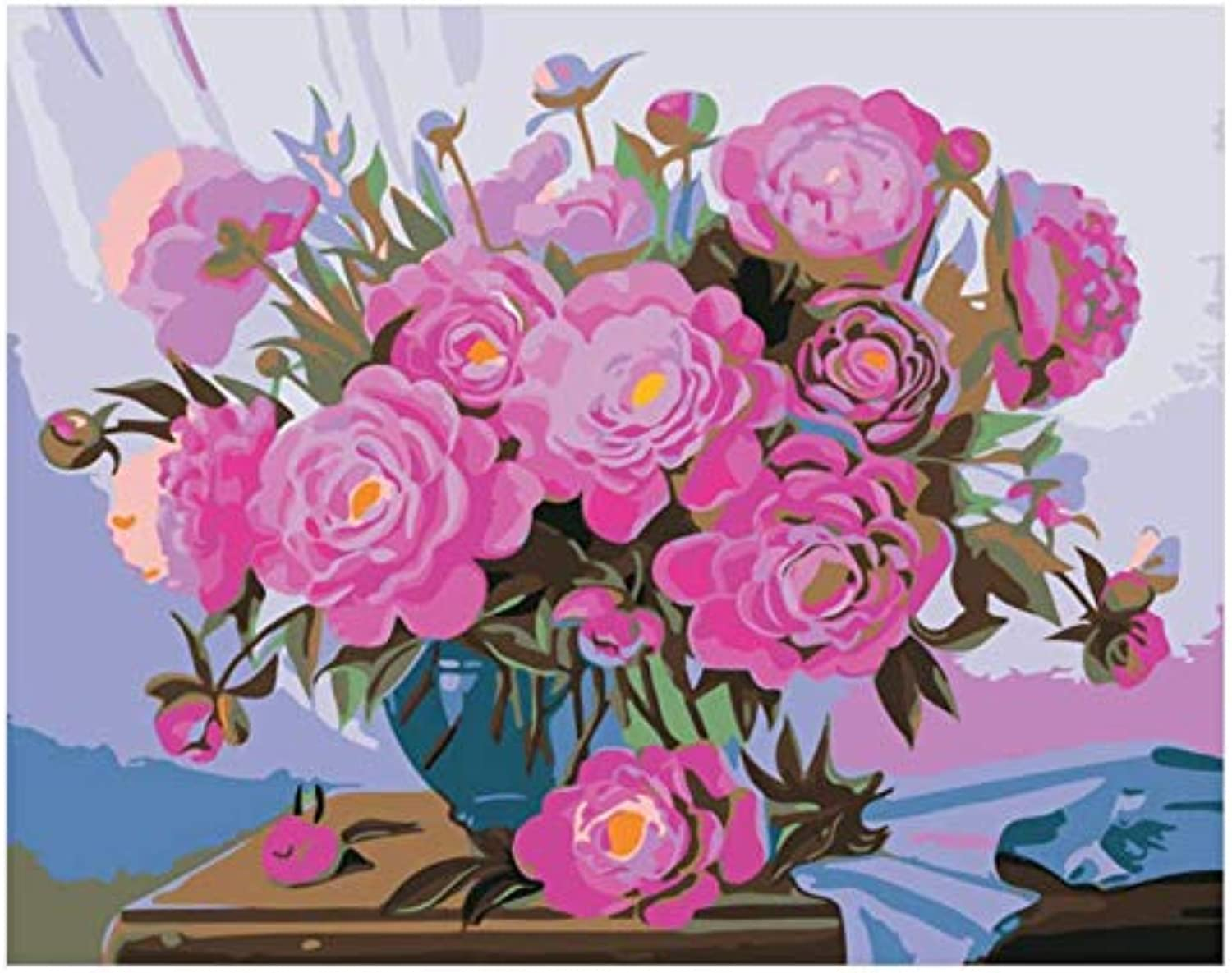 UPUPUPUP Blooming Pink pink Diy Painting By Number Flower Vase Oil Painting On CanvasAcrylic Wall Art Home Decor,Tworidc550X70Cm Frameless