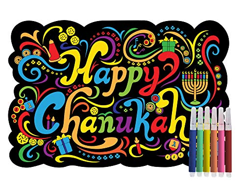 Chanukah Velvet Coloring Board - Includes 6 Markers - 12 x 8.5 - Hanukkah Arts and Crafts and Games by Izzy n Dizzy