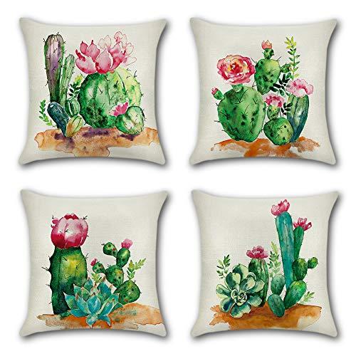 Artscope Funda de Cojín 45x45cm Juego de 4,Funda de Almohada para Cojín Cuadrado Algodón Lino para Sofá Cama Hogar Decorativo (Cactus)