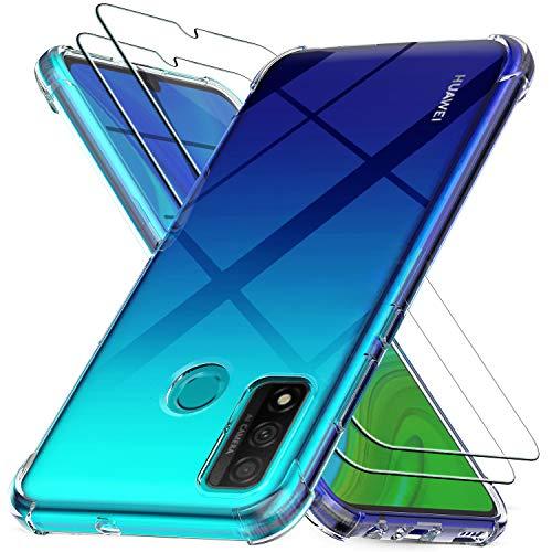 Ferilinso Cover per Huawei P Smart 2021 + 2 Pezzi Pellicola Protettiva Vetro Temperato, [Transparente TPU Custodia] [10X Anti-Yellowing] [Anti-Antiurto] [Anti-Scratch] [9H Durezza]