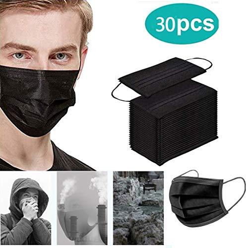 LILIGOD 20 Stück Schwarz Einmal-Mundschutz, Outdoor Schutz Bandana, Staubschutz atmungsaktiv Erwachsene Face Cover (30pc)