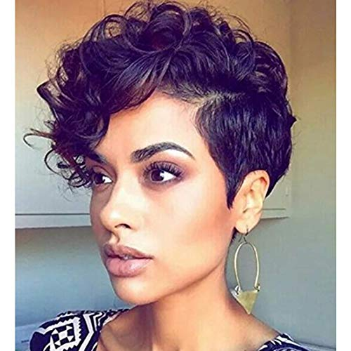 ELIM Short Wigs for Black Women Afro Kinky Curly Black Wigs with Side Bangs Heat Resistant Synthetic Hair Wig with Wig Cap Z134A