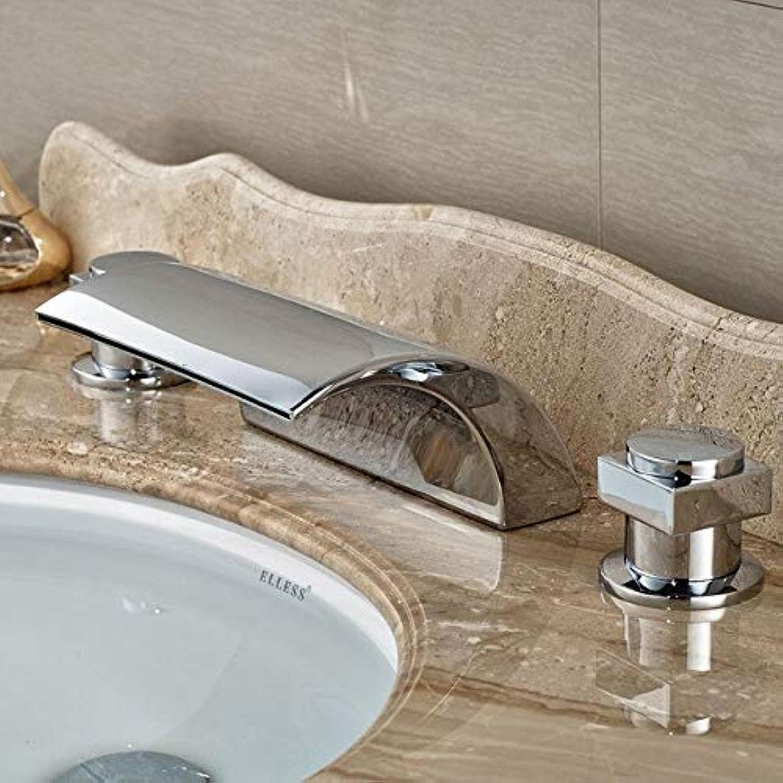 Doppel-Griff Wasserfall-Badewanne Mixer Wasserhahn Set Deck Bad Badewanne Waschbecken Wasserhahn Wasserhahn Chrome Finish Jp1142