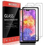 MASCHERI 2 Piezas Protector de Pantalla Compatible para Huawei P20 Pro Marco de posicionamiento Cristal Vidrio Templado Glass Screen Protector Transparente