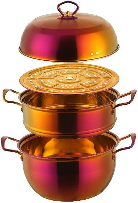 Stainless Steel 5 popular 3 Tier Steamer Pot Inventory cleanup selling sale Color Stock Me Sauce Pan