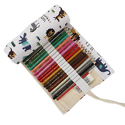Chytaii Leinen-Federmäppchen für Stifte, Federtasche zur Aufbewahrung von Buntstiften, zum Zeichnen, niedliche Tiermotive 72 fentes weiß