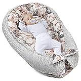 warmes Nestchen Baby - Kuschelnest Neugeborene Baby Nestchen Bett Winter/Herbst Kokon Babynest (Hellgrau Minky mit Wilde Rose Motiv, 90 x 50 cm)