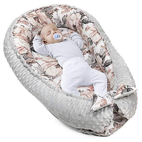 Amazinggirl Reductor de Cuna 90x50 cm - nidos para Bebes colecho Bebe Cuna algodón y Material Minky cálido
