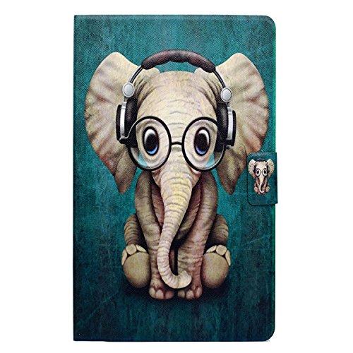 CaseFun Hülle für Samsung Galaxy Tab A 10,1 (SM-T580/T585) - Samsung Galaxy Tab A 10.1 Hülle Etui Schutzhülle Case Cover Holder Stand mit Smart Auto Wake/Sleep-Funktion Elefant