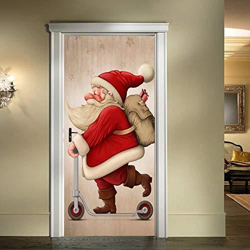 JIANXIQT deurstickers voor binnendeuren, citaat muurstickers moderne 3D schattige Cartoon Kerstman Scooter deur Sticker Kerstmis Art Decal voor baby kinderen kamer klas huisdecoratie 77x200cm