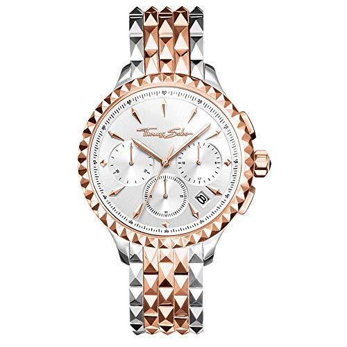 Thomas Sabo Damen Chronograph Quarz Uhr mit Edelstahl Armband WA0347-277-201-38 mm