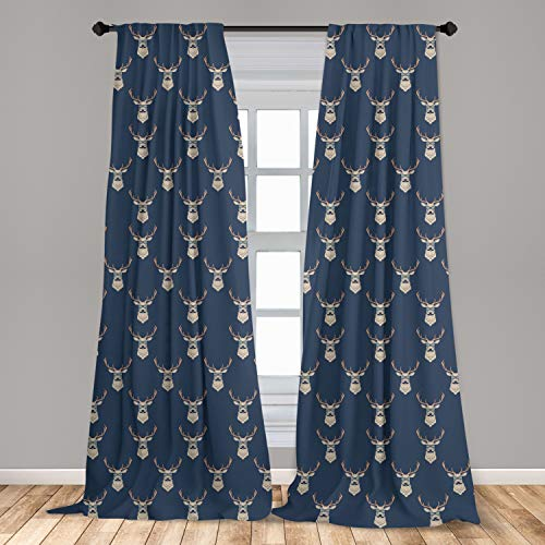 """Ambesonne Deer Window Curtains, Hipster Inspired Deer with Antlers Glasses Mustaches Funny Animal Pattern Vintage, Lightweight Decorative Panels Set of 2 with Rod Pocket, 56"""" x 84"""", Slate Blue"""