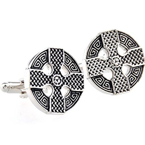 MRCUFF Celtic Cross Irish Ireland Cufflinks Pair in a Presentation Gift Box & Polishing Cloth