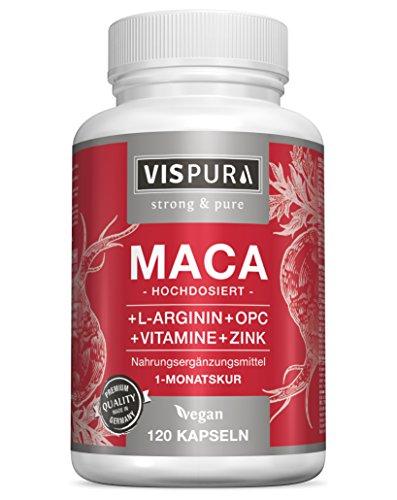 VISPURA® Maca Pura en Cápsulas, Altamente Concentrada con 5000 mg + L-Arginina + Vitamina B6, B12 + OPC + Zinc, 120 Cápsulas de Maca Andina para 1 Mes, sin Aditivos Innecesarios, Calidad Alemana