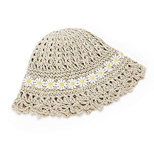 Sombreros de paja y bolso tejido de paja para niñas pequeñas, sombreros de playa de verano Sombreros de sol plegables Floppy Summer Straw Hat Bolso cruzado con adorno de margaritas