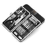 Fixget 18 Pcs Manicure Set, Professionale Tagliaunghie Set Manicure Grooming Kit con Travel Case (18Pcs Nero)