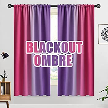 COSVIYA Ombre Room Darkening Curtains 63 inches Length for Girls Bedroom Light Blocking Pink and Purple 2 Tone Reversible Rod Pocket Gradient Window Drapes for Living Room,2 Panels 52 inches Wide