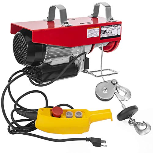 XtremepowerUS 1500 LBS Lift Electric Hoist Overhead Crane Lift Winch Ceiling Hoist with Remote Control Dual Line Operation