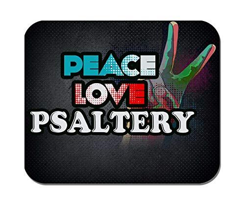Makoroni - Peace Love Psaltery Music- Non-Slip Rubber - Computer, Gaming, Office Mousepad