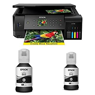 Epson Expression Premium ET-7700 EcoTank Wireless 5-Color Supertank Printer with Scanner, Copier, Ethernet with T502 Black Auto-Stop Ink Bottle and T512 Black Auto-Stop Ink Bottle (B07DGFHDMQ) | Amazon price tracker / tracking, Amazon price history charts, Amazon price watches, Amazon price drop alerts