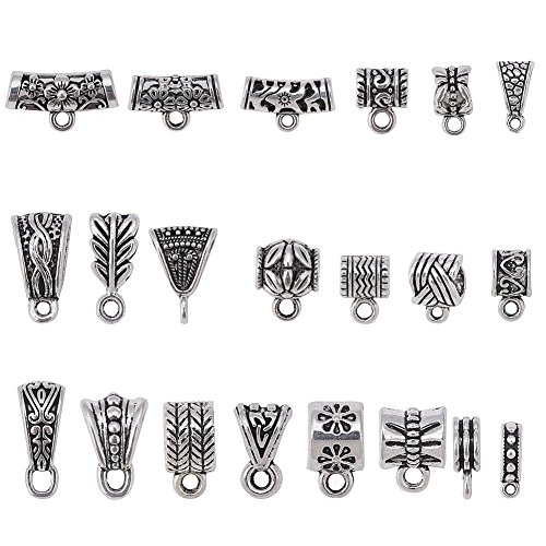 100Gram About 90Pcs Mix Tibetan Silver Color Connectors Bails Beads for Jewelry Making fit European Charm Bracelet,Jewelry Making Supplies.Beads Charms for Jewelry Making